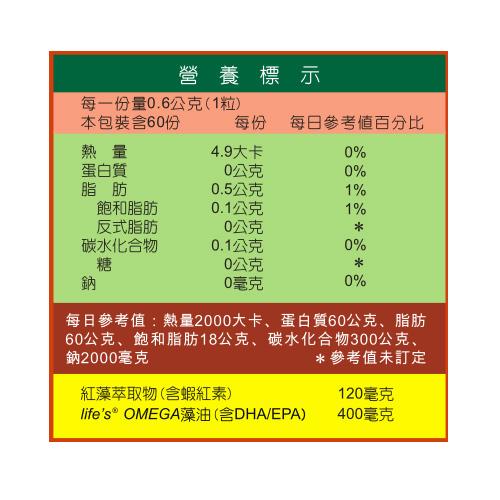 IVITAL艾維特®微藻蝦紅素DHA+EPA液體植物膠囊(60粒)全素
