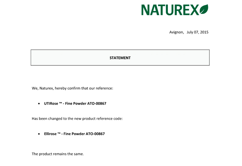 法商NATUREX公司將原商標utirose 變更為全新商標 ellirose 聲明書